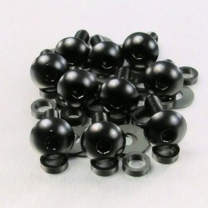 Lot visserie M5 x 0,8 x 25mm - 10 vis tête bombée pour carénages noir