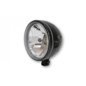 Phare rond noir satin avec veilleuse circulaire à leds Diam 147 mm
