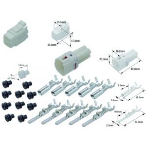 Kit connecteurs électriques étanches type 090 FRS avec 4 fiches blocs mâle et femelle