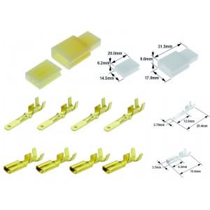 Kit connecteurs électriques type 110 avec 3 fiches blocs mâle et femelle