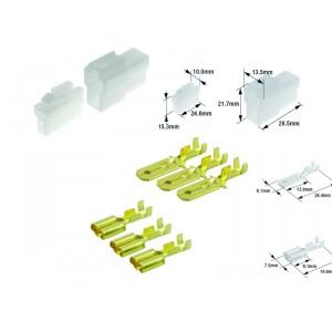 Kit connecteurs électriques type 250 avec 2 fiches blocs mâle et femelle