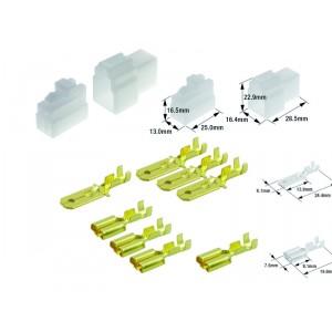 Kit connecteurs électriques type 250 avec 3 fiches blocs mâle et femelle