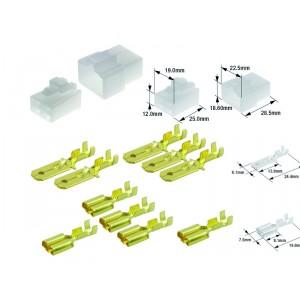 Kit connecteurs électriques type 250 avec 4 fiches blocs mâle et femelle