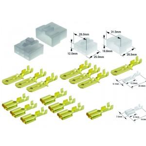 Kit connecteurs électriques type 250 avec 6 fiches blocs mâle et femelle