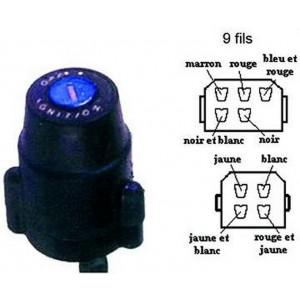 Contacteur à clé, neiman Yamaha DTMX 125 et 175, XT 500 (connexion 9 fils)